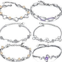 OPK JEWELRY MIXED ORDER Fashion Jewelry Charm Bracelet  plating silver and white gold crystal chain link bracelets FREE SHIPPING