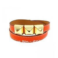 2013 Summer New Fashion Orange Leather Collier Bracelet,With 18K Gold Rivet Charm,Popular Real Leather Bracelet For Pretty Women