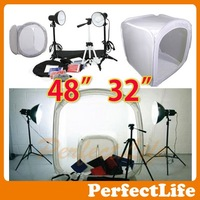 "48"" 32"" Photo Studio Light Tent Box Kit, 2 light stands,1 Tripod 3 x 40w light bulbs Hot sale A042AZ003"