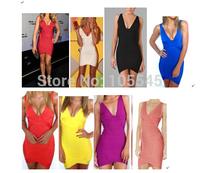 2014 hot new fashion women Red black white blue pink watermelon purple yellow V-Neck evening party Bandage Dress
