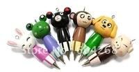 free shipping  Wooden ball pens Cute Cartoon ballpen,Wooden ballpoint pens ,Portable portable pen, Mobile phone chain