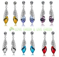 Free Shipping Gift Bags Hotselling Wholesales 9 colors Shiny Zircon Rhinestone Crystal Drop Earrings Fashion Jewelry 4156