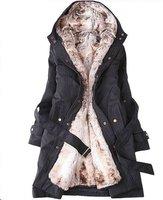 Faux fur lining women's fur coats winter warm long coat jacket clothes wholesale Free Shipping