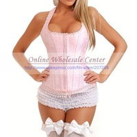 sexy Pink Lace up corsets Sexy Lingerie Costume Corset Bustier skirt  ladies&#39; camisole Lingerie