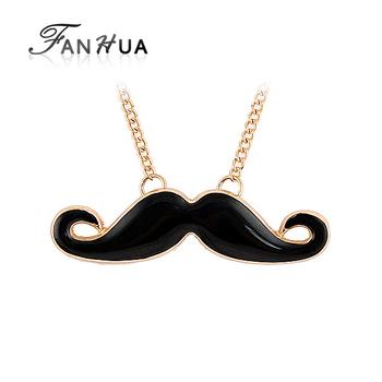 Fashion Jewelry 2014 New Design Charming Individual Gold Color Alloy Chain Enamel Black Mustache Pendant Necklace