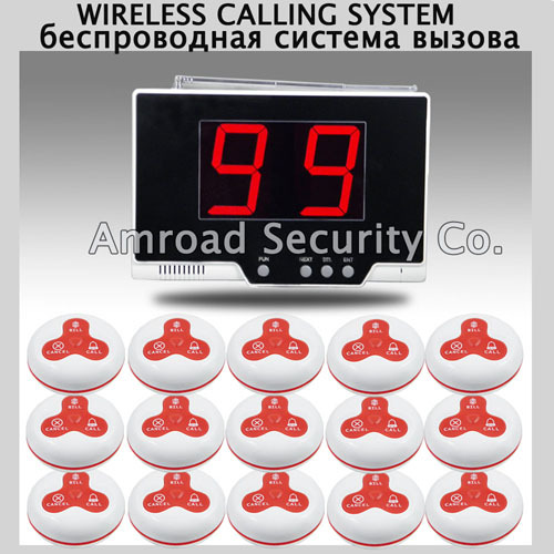 1set 99 Zones LED Display Wireless Table Waiter Service Call Calling Paging System w 15pcs 3-press Table Button AT-99P(China (Mainland))