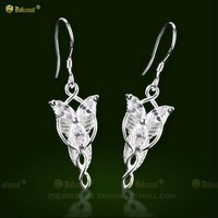 Free Shipping - The Lord of the Rings Arwen Evenstar 925 Sterling Silver Earrings Necklace LOTR A Pair Drop Earrings