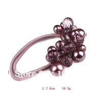 Free Shipping 12pcs/lot Handmade Stretchy Flower Ponytail Holder Beaded Elastic Hair Flowers HP0019