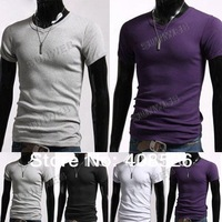 2013 Men's Stylish Casual V-Neck Short sleeve Slim cotton T-shirt Black, White, Gray, Purple Size S/M/L/XL 3324