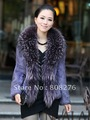 Free Shipping Via DHL Big Recoon Fur Collar Genuine Rabbit Fur Coat,Rabbit Fur Coat,Red Gray Purple Brown,M-4XL Wholesale&amp;Retail