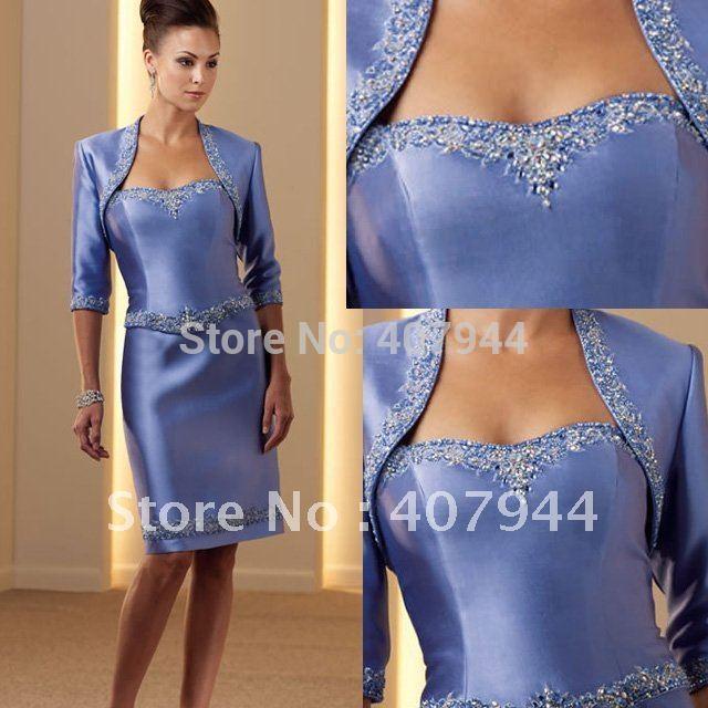 Designer blue satin sweetheart beaded knee length mother of the bride