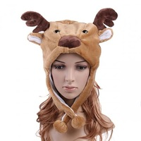 5pcs/lot Freeshipping   Brand New  Cartoon Animal Deer cute fluffy plush Hat cap