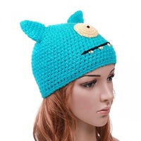 5pcs/lot Brand New  and  Stylish Lovely Soft Warm Blue Cartoon ET Wool Woolen Cap Hat Beanie Knit for Children