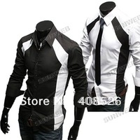 New men's Casual Luxury Stylish Slim Long Sleeve Dress Shirts 3 sizes M L XL white black dropshipping #005 3403