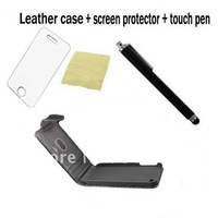 Leather Wallet Book Case Cover Pouch For iPhone 4 4S 4S+Screen Protector +Stylus