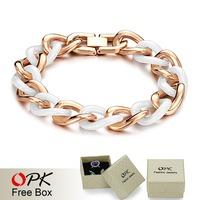 OPK FINE JEWELRY Ceramic Bracelets Men's Figaro Chain Classics White Ceram Jewellery rose yellow gold plated free shipping 403