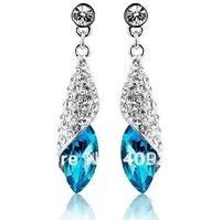 18 colours, fashion silver teardrop crystal drop earrings ,sale at breakdown price