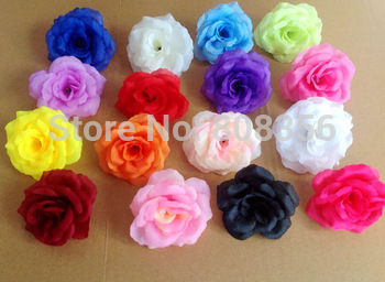 "100pcs 8cm/3.15"" Artificial Silk Camellia Rose Peony Flower Heads Wedding Christmas Party 15 Colors Diy Jewlery Brooch Headwear"