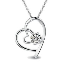 Minimum Order 15$,Can Mixed Order,Free Shipping,Zircon CZ Pendant Necklace,Platinum Plated Necklace Flying Heart Necklace.GNP002