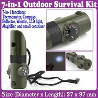 2 pcs/Lot_7 in 1 Survival Whistle Compass Thermometer Flashlight
