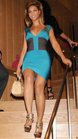 Free Shipping EMS/DHL  knitted women's bandage dress H026 Blue Couture Sleeveless Evening Dress