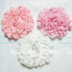 24pcs/lot 9cm chiffon rose flowers 3 colors cloth flowers free shipping hand made flower(China (Mainland))