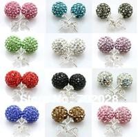 Shamballa Earrings Studs Clay Disco Ball Crystal  Mixed Colors  100 pairs free ship