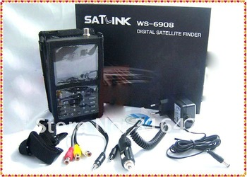 2011 New version, Satlink WS 6908 DVB-S FTA digital satellite signal finder meter , WS6908,WS-6908 + Free shipping