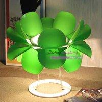 Free Shipping Hot selling Wholesale European Style Lotus Fur Table Lamp Modern Desk Bedside Light Fixture Green