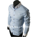 Free shipping!Fashion Mens Casual solid tops Slim Fit Stylish black,gray,blue dress shirts for men,5804