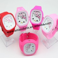 100pcs/lot, fashion hello kitty watch, jelly watch wholesale,19colors available cheap fashion watch.