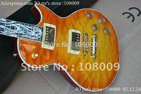 new arrival custom shop sunburst flower inlay fret board Abalone Binding Body electric guitar
