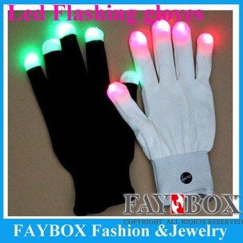 DHL Free shipping! 6 Mode LED gloves ,Glow Rave Party Finger Gloves, Magic Flashing  light gloves