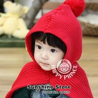 Sunshine store #2D2506 30 pcs/lot  fashion baby&amp;amp;kid Scarf with Hat  Shawl winter knitted cloak hat and scarf set EMS