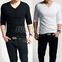 Lycra + Cotton fashion Men's Stylish Comfort Lycra Deep V-Neck Long Sleeves T-Shirt Tunic Button Tops/Tees B11 3519