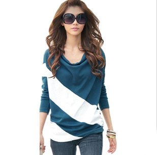 2014 Hot Sale loose sleeve stitching striped long-sleeved pullover for female tee t-shirt women free shipping wholesale WTL005