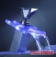 Faucetqing  010016  Single Handle Centerset Waterfall Bathroom Vanity LED Lavatory Faucet, Chrome