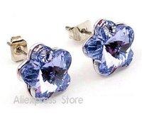 Free Shipping GiftBag Wholesale Hotsell romantic plum flower Earrings 7 colors Austria crystal Zircon Alloy Fashion jewelry 4101