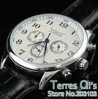 JARAGAR  Luxury Watch Men White Black Automatic 6 Hands Week/Date/24H Mechanical Watches Wristwatch Gift Free Ship
