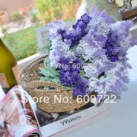 New Fabric  36cm 10 heads Wedding Home Decorative Flowers Artificial Lavender Purple  FL046