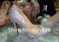 Fashion womens shoes Pointed Toe high heel ladies sandals crystal wedding Daffodil diamond PUMPS