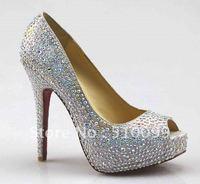 Sexy Lady Fashion Crystal Peep Toe High Heels Platform Sandal Shoes
