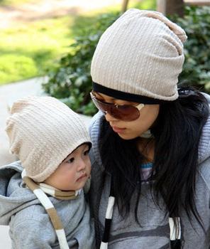 wholesale 12pcs Twisted design Children Double-sided Hat baby Adult Hats Parent-child cap infant skull caps