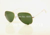 Free shipping Best Quality 100%UV Brand sunglass men's/women's Designer Gold sunglass Green lens 58mm case box