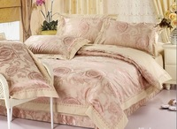 whole sale & retailing 4pcs 60s cotton jacquard bedding set/ duvet cover set bed clothes