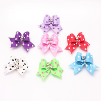 "Armi store Handmade Hair Bows Dog Show Supplies Rubber Bands 7/8"" Pet Bow Rhinestone Mix Color 5 Pair"
