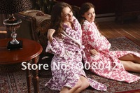 Free shipping, winter new style, pink and purple printed coral fleece women sleep robes