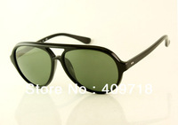 Brand name sunglass acetate sunglass men's/women's Fashion 4125 CATS5000 Black sunglass Green lens 59mm case box