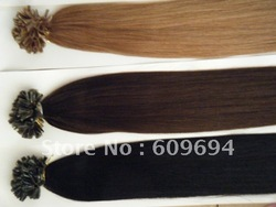 "18"" 20"" 22"" 24"" 100gram keratin Nail Tip U tip hair extensions 1g/s 100% Indian Remy Human Hair black brown blond in stock 007(China (Mainland))"