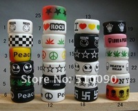 Wholesale - High quality jamaica Punk hiphop Rasta Color mixed models silicone rubber rings